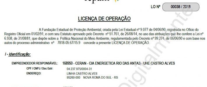 FEPAM renova Licença de Operação das Usinas Hidrelétricas Monte Claro, 14 de Julho e Castro Alves